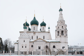 The Church Of Elijah The Prophet or Elias Church at hazy weather. Golden Ring of Russia.