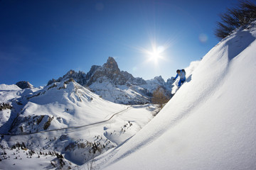 Man Powder Skiing in Dolomites, Italy