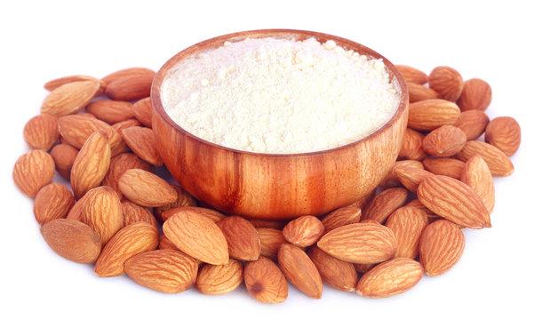 Fresh almonds with flour