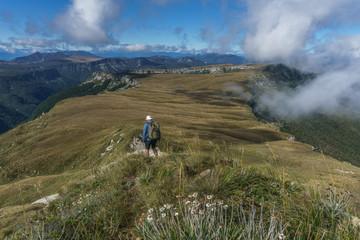 Man hiking on 100 acre plateau, Kahurangi national park, New Zealand