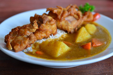 Fried Chicken With Japanese Curry And Rice