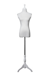 Dressmakers form with white fabric cover
