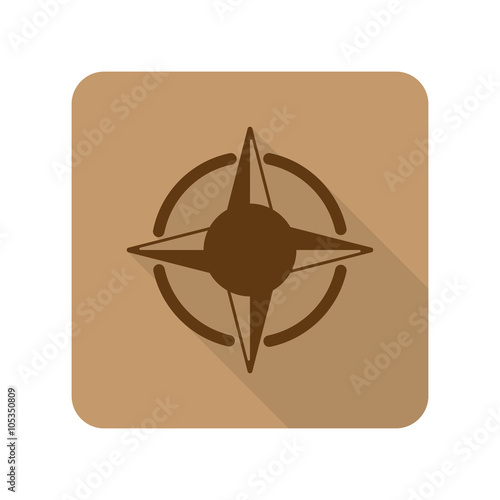 Flat style Compass Rose web app icon on light brown