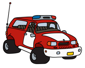Fire patrol car / Hand drawing, vector illustration