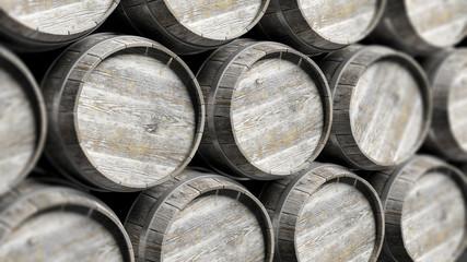 Arranged lines of barrels