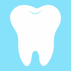 cartoon tooth, white on a blue background, teeth vector icon illustration, first tooth, dental office logo