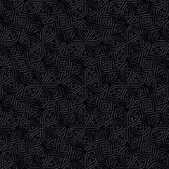 Batik Seamless Pattern. Black Background
