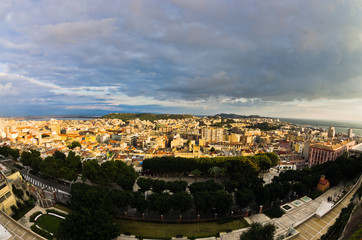 Recess Fitting Athens Panoramic view of Cagliari downtown at sunset in Sardinia, Italy