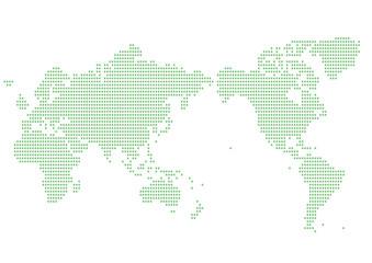 世界地図 ドット イラスト グリーン グラデーション(日本中心)