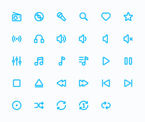 Music outline vector icons. 29 Icons & 48x48 resolution