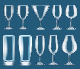 Illustration set of glass wine glasses on a dark background