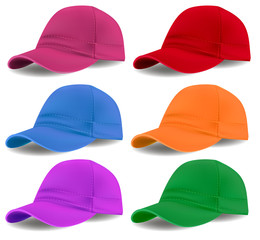 Illustration set of colored caps on a white background