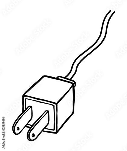 u0026quot electric plug    cartoon vector and illustration  black