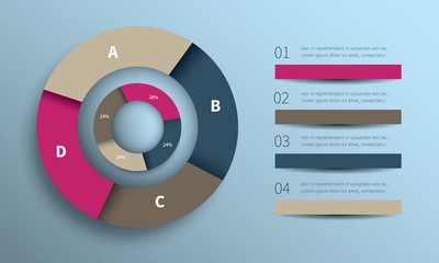infographic circle design / cycling vector chart, diagram with 7 options for business presentaton