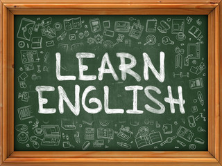 Learn English Concept. Line Style Illustration. Learn English Handwritten on Green Chalkboard with Doodle Icons Around. Doodle Design Style of  Learn English.
