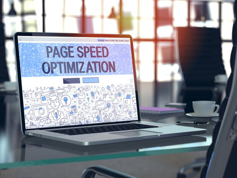 Page Speed Optimization Concept - Closeup on Landing Page of Laptop Screen in Modern Office Workplace. Toned Image with Selective Focus. 3D Render.