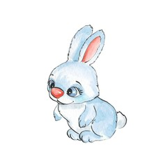 Cartoon rabbits. Watercolor illustration 21
