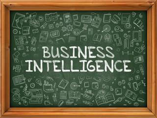 Business Intelligence - Hand Drawn on Chalkboard. Business Intelligence with Doodle Icons Around.