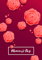 Happy Mothers Day Greeting Card. Pink Rose Flowers.