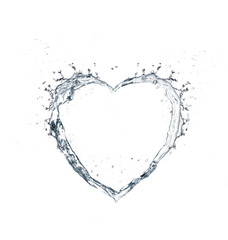 water splashing in heart form