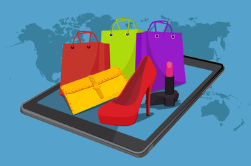online shopping, vector illustration, fashion, tablet