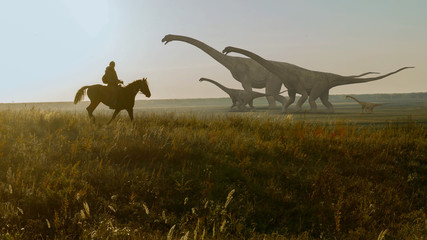 People and dinosaurs. Realistic animation. Landscape view.