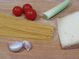 Ingredients for a traditional dish of spaghetti