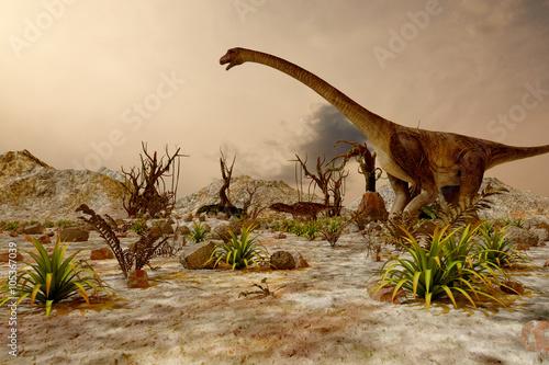 Dinosaur. Prehistoric Jungle, landscape, valley with Dinosaurs