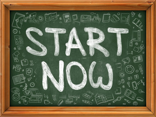 Start Now Concept. Modern Line Style Illustration. Start Now Handwritten on Green Chalkboard with Doodle Icons Around. Doodle Design Style of Start Now Concept.