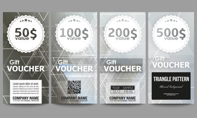 Set of modern gift voucher templates. Abstract blurred vector background with triangles, lines and dots