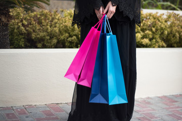Middle Eastern Arab woman With Shopping Bags
