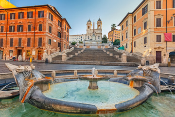 Wall Mural - Spanish Steps at morning in Rome, Italy