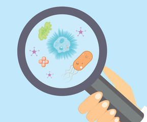 Bacteria research vector illustration. Microbiology flat illustration.