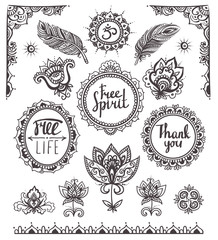 Set of Ornamental Boho Style Frames and elements. Vector illustration.
