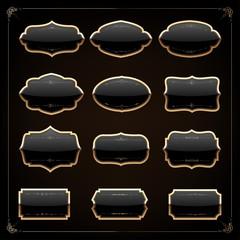 Set of 12 blank golden vintage frame,banner,label,Vector EPS10.