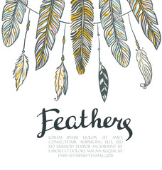 Card with colorful feathers. Beautiful hand-drawn background for invitations, save the date cards and any design. Vector wreath with place for your text.