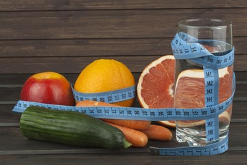 Dietary adherence to the diet program. Fresh dietary food for athletes. Fruit on a wooden table.Balanced diet.