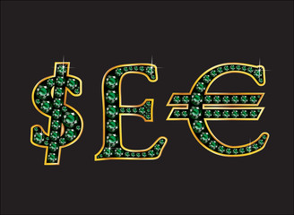 Currency Signs in Emerald Jeweled Font with Gold Channels