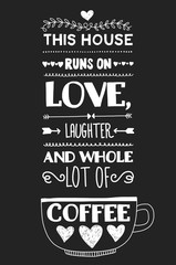 Lettering with quote about coffee.
