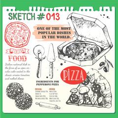 Food sketchbook with pizza menu illustration.  Italian food insketch style.