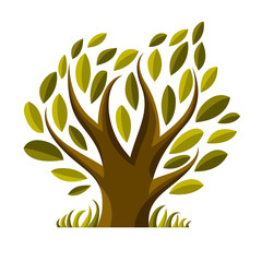 Vector image of single branchy tree, nature concept. Art symboli