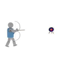Archer pointing to target