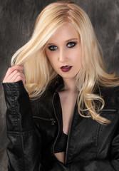 Beautiful Woman in Leather Jacket