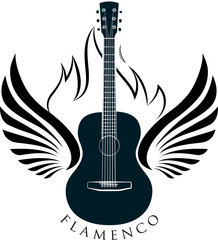 Acoustic, classic guitar emblem with wings, fire and caption FLA