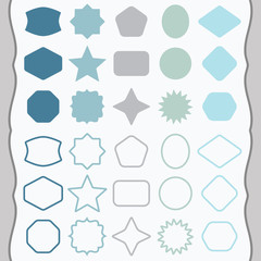 Matte blue silhouette and outline basic shapes emblems icons set