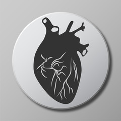 heart grey vector icon on round button with shadow