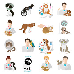 Veterinary icon flat set.  Vet clinic, pets and doctor isolated on white background. Vector illustration