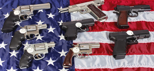Gun Pistol Firearms For Sale on USA American Flag