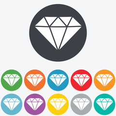 Diamond sign icon. Jewelry symbol. Gem stone. Round colourful 11 buttons. Vector