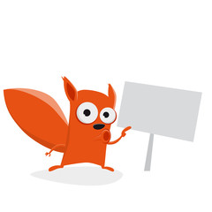 funny cartoon squirrel with an empty sign